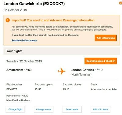 Flight ticket from London Gatwick to Amsterdam - 18/10/19 until 22/10/19
