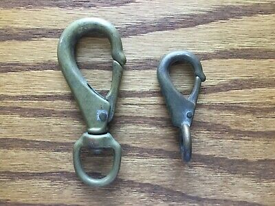 Two Vintage Brass Bronze Clasp Clip Hooks. One marked Italy Nautical Flag Metal