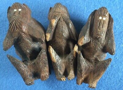 Antique Vintage Carved Wood Monkey Apes  Art Deco African Collectables Treen