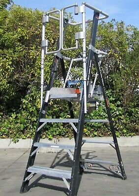 Little Giant 4 ft Safety Cage Ladder System 19604 Platform Stepladder