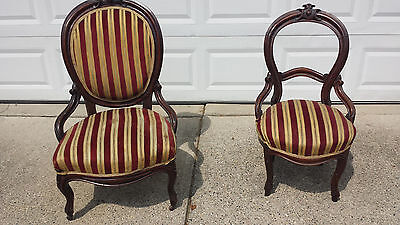 Victorian chairs ladies chair and side chair balloon backs c 1850