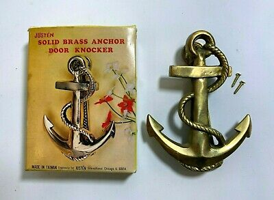 "Vintage Solid Brass Nautical Ships Anchor Rope 5"" Classic Door Knocker w/box"