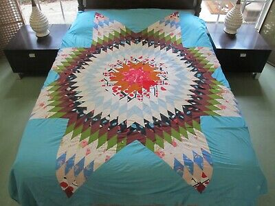 LARGE Vintage Feed Sack Hand & Machine Pieced LONE STAR Colorful Quilt TOP