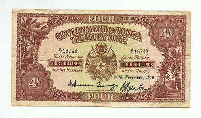 Super Rare Tonga Four Shillings Banknote
