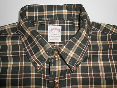 Brooks Brothers 346 Mens Designer Green Brown Checkered Shirt Big Large CUFFS