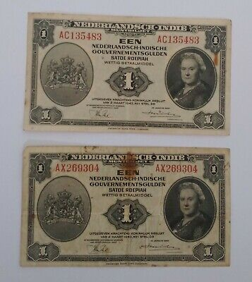 Dutch East Indies 1943 Nederlandsh Indi 1 Banknote Note x2
