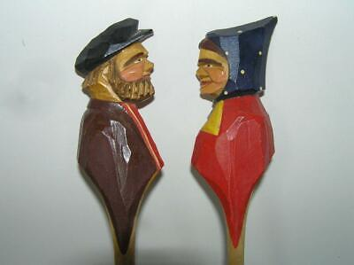 R. Audet Wooden Folk ART Quebec Canada Couple Man Woman fork spoon SET