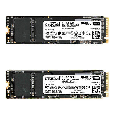 Crucial P1 M.2 NVMe 500GB 1TB PCIe Internal Laptop/PC Solid State Drive SSD