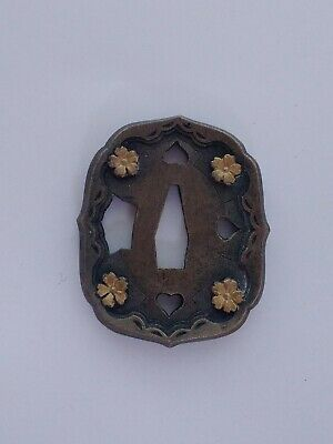 Antique Japanese Sword Tsuba Gold Flowers Original Japanese Sword Part