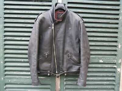 """Vintage """"Stagg"""" Leather Motorcycle Jacket - Large"""