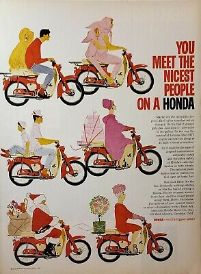 Lot of 3 Vintage 1963 Honda Motorcycle Ads Some People Have All The Fun