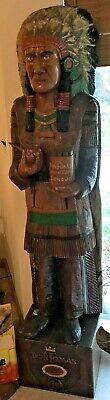 1970'S Hand Carved Wood Indian Cigar Store Trade Sign Statue Don Tomas Cigars