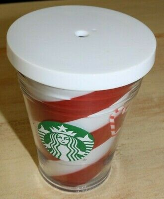 Starbucks Candy Cane Stripe Holiday Christmas Cold Cup Tumbler 12oz NEW No straw