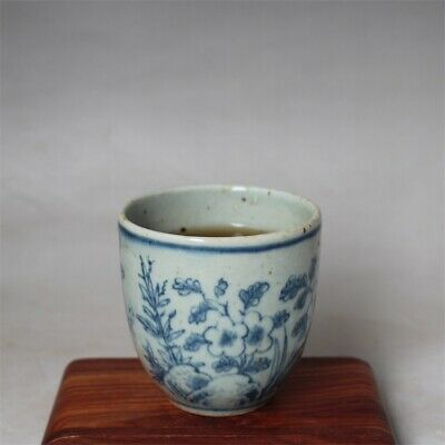 """Old China Blue and white Porcelain ming Dynasty hand painted flower tea cup 2.8"""""""