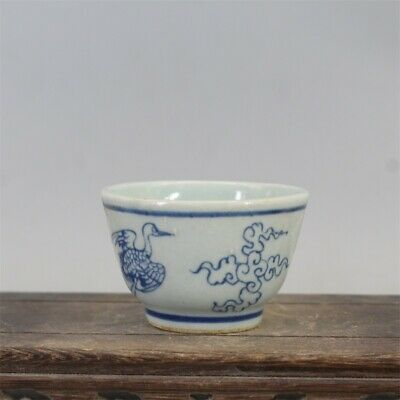 """Old Chinese Blue and white Porcelain ming Dynasty Hand painting crane tea cup 3"""""""