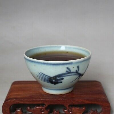 """Old Chinese Blue and white Porcelain ming Dynasty painting dragon tea cup 3.3"""""""