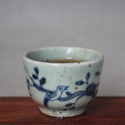 """Old Chinese Blue and white Porcelain ming Dynasty painting flower bird cup 2.4"""""""