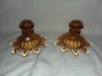 Set of 2 Vintage Westmoreland Amber Glass Ring and Petal Candledtick Holders