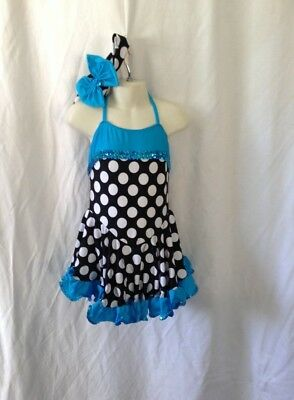 10 Lycra Leotard with Skirt, Black with White Spot and Aqua trim, and sequins