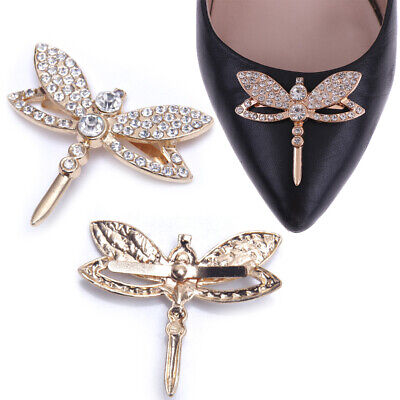 1Pc Cute dragonfly rhinestone shoes clip buckle women shoe charm accessoriesJ cw