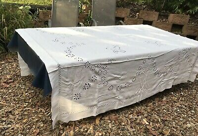 Vintage White Cotton Tablecloth Hand Embroidered  DB Approx 210 X 206
