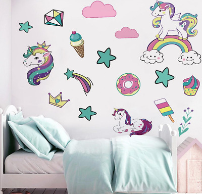 Muurversieringen, stickers Patterned Unicorn 9pc Light ...