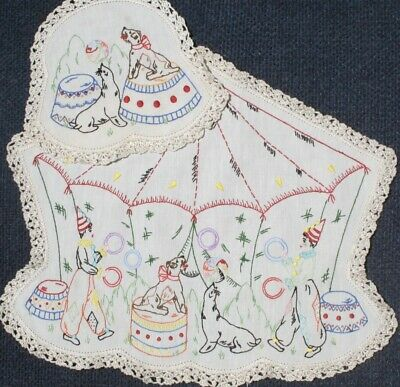 Vintage Hand worked 2  CIRCUS DESIGNS Mat and matching Doily detailed work