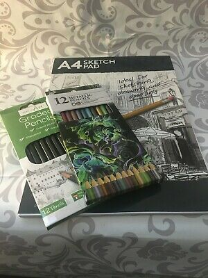 Art Kit Drawing Pad Graded Metallic Pencils Draw Creative Supplies Sketch 99