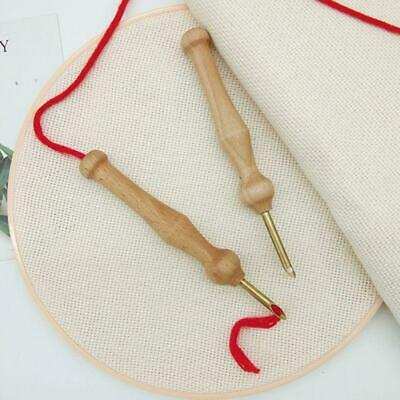 Durable Knitting Embroidery Pen Punch Needle Threader Set DIY Wood Handle Sewing