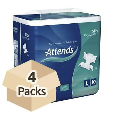 4x Attends Incontinence Slip Regular Plus 10 - Large - Pack of 14 - 3699ml