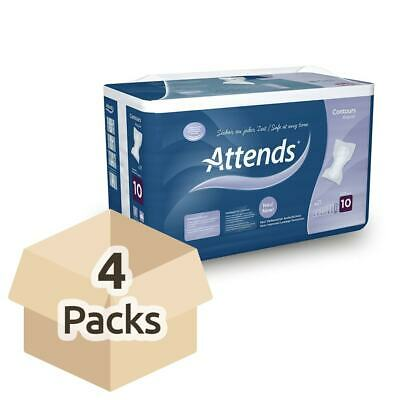 4x Attends Contours Regular 10 - Pack of 21 - Incontinence Pads - 3299ml