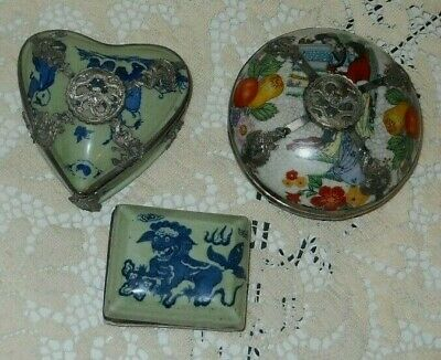 3 vintage Chinese Porcelain Ink Boxes - 2 with silver, Blue & White