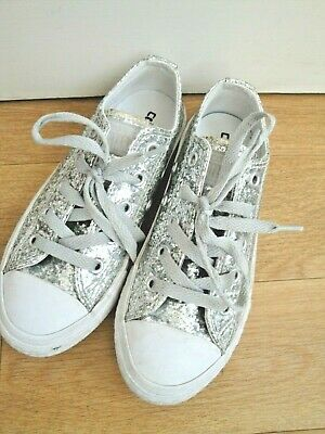 Converse Trainers All Star Sparkle Ox Silver Size Uk 12 Eu 30 Girls