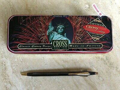 Cross Classic Century Graphite Lacquer Ballpoint Pen In Commemorative Tin Box
