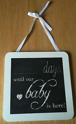 Days Until Our Baby Is Here Chalkboard Countdown