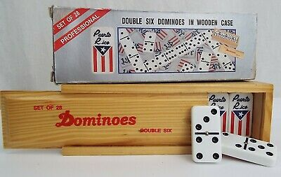 28 Puerto Rico Dominoes - Double Six - Wooden Case - With Original Box