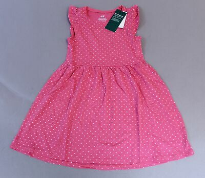 H&M Girl's Polka Dot Flutter Sleeve Dress CD4 Pink Size 4-6 Years NWT