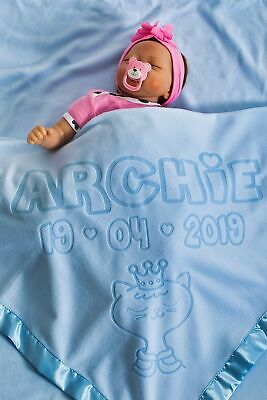 Personalised Baby Boy Blanket with Name and Birth Date Newborn Gift Size 88x88cm