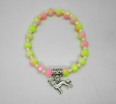 Chinese Crested Dog Glass Beaded Bracelet with Charm Pink & Lime Green Handmade