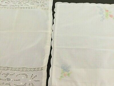 Lovely Vintage Baby Crib/Toddler Bed Pillows Embroidered - SET OF 2
