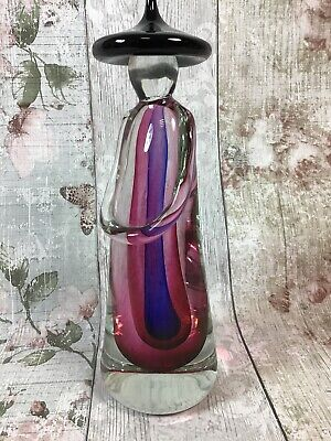 Murano Style Glass Sommerso China Man Pinks Purples 29 cm
