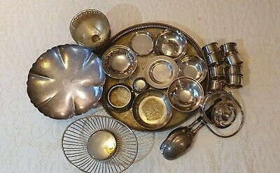 Antique Silver Plate.  Dishes, Tray, 8 Napkin Rings, Salad Servers. Job Lot.