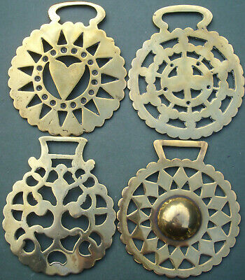 Four Different Old Horse Brasses, Free P&P, 2 pressed / stamped and 2 cast brass