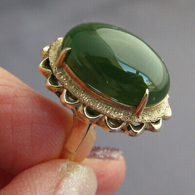 ANTIQUE VINTAGE 14K YELLOW GOLD HUGE OVAL GREEN AVENTURINE COCKTAIL RING 12ct