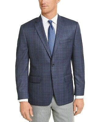 $295 Michael Kors Blue Brown Plaid Classic-Fit Sport Coat Mens 40S 40 NEW