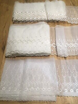 """Sewing//Crafts 3cm//1.25/"""" Pretty White Floral Design Gathered Frilled Lace Trim"""