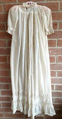 Antique Long Baptism Christening Embroidered Lace Gown Baby Doll Dress