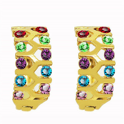 18 k Gold Plated Stud Earrings for Small Girls or Women Colourful Ladybirds E752