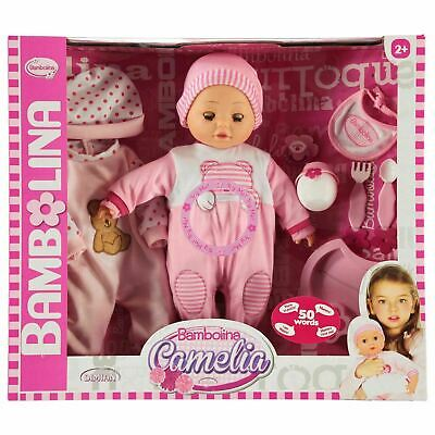 Bambolina Camelia Doll 50 Words,interactive baby doll & feeding set,pink outfit,