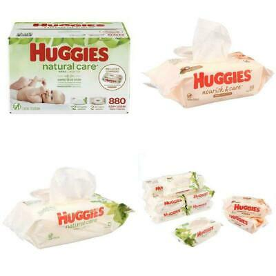 HUGGIES Natural Care Unscented Baby Wipes, 12x, Total 880 wipes with Nourish and